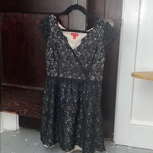 Tan and black lace dress